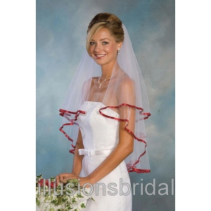 Illusions Bridal Colored Veils and Edges C7-302-3R-GT: Rhinestone Accent