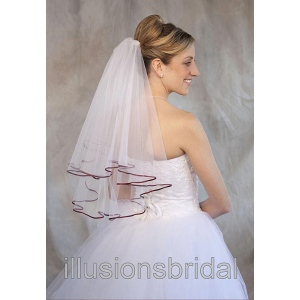 Illusions Bridal Colored Veils and Edges: Wine Ribbon Edge