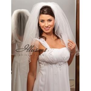 Illusions Bridal Pearl Edge Veil S1-302-P: Rhinestone Accent