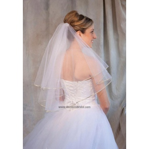 Illusions Bridal Colored Veils and Edges: Sage Ribbon Edge