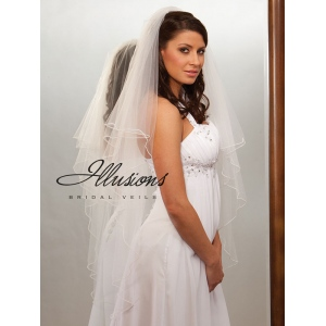 Illusions Bridal Pearl Edge Veil C7-452-P: Pearl Accent