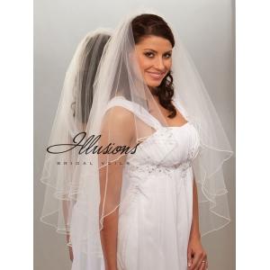 Illusions Bridal Pearl Edge Veil C7-362-P: Rhinestone Accent