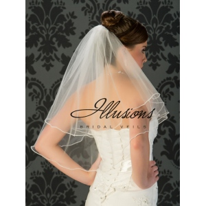 Illusions Bridal Pearl Edge Wedding Veil C7-252-P: 2 Layer, Rhinestone Accent