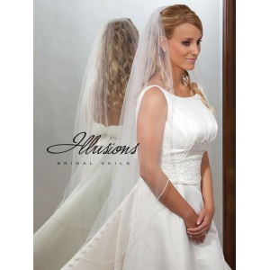 Illusions Bridal Pearl Edge Veil 7-451-P: Pearl Accent