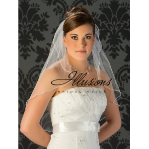 Illusions Bridal Pearl Edge Wedding Veil 7-251-P: Stylish, Rhinestone Accent