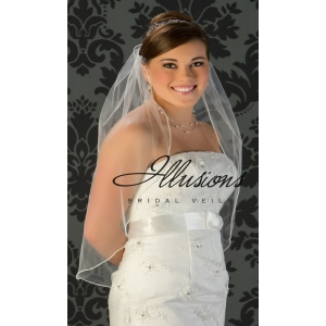 Illusions Bridal Pearl Edge Wedding Veil 5-301-P: 1 Layer Waist Length, Rhinestone Accent
