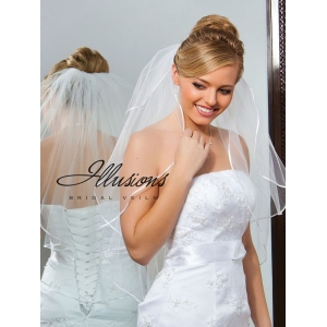 Illusions Bridal Ribbon Edge Veil S7-302-1R: Rhinestone Accent