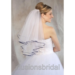 Illusions Bridal Colored Veils and Edges: Navy Blue Ribbon Edge