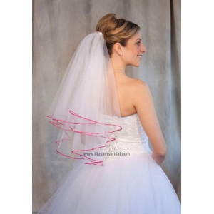Illusions Bridal Colored Veils and Edges: Fuschia Ribbon Edge
