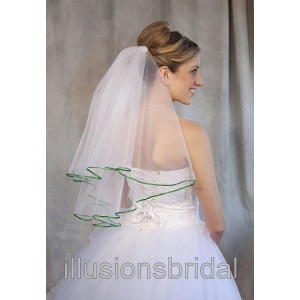 Illusions Bridal Colored Veils and Edges: Emerald Ribbon Edge