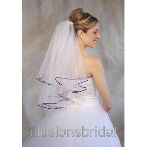 Illusions Bridal Colored Veils and Edges: Eggplant Ribbon Edge