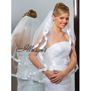 Illusions Bridal Ribbon Edge Veil S1-302-7R: Pearl Accent