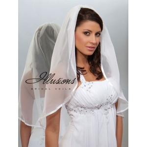 Illusions Bridal Ribbon Edge Veil CH-301-3R: Pearl Accent