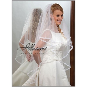 Illusions Bridal Ribbon Edge Veil C7-452-1SR: Pearl Accent