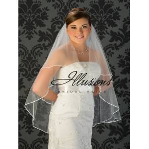 Illusions Bridal Ribbon Edge Wedding Veil C7-362-1R: 2 Layer