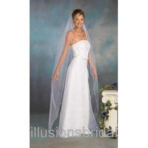 Illusions Bridal Colored Veils and Edges with Light Blue Rattail Edge 5-721-RT-LB: Pearl Accent