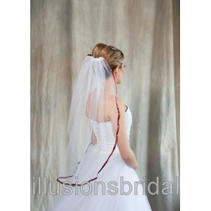 Illusions Bridal Colored Veils and Edges with Wine Ribbon Edge
