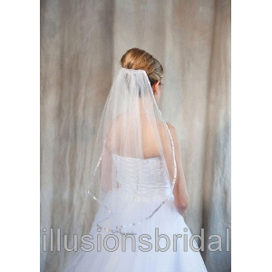 Illusions Bridal Colored Veils and Edges: Silver Ribbon Edge