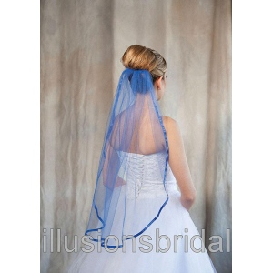Illusions Bridal Colored Veils and Edges: Royal Blue Ribbon Edge