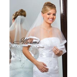 Illusions Bridal Ribbon Edge Veil C7-252-7R: Rhinestone Accent