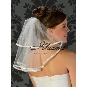 Illusions Bridal Ribbon Edge Wedding Veil C5-152-3R: 2 Tier, Pearl Accent