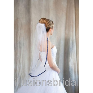Illusions Bridal Colored Veils and Edges with Navy Blue Ribbon Edge