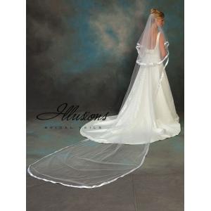 Illusions Bridal Ribbon Edge Veil C5-1442-7R: Rhinestone Accent