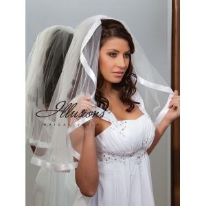 Illusions Bridal Ribbon Edge Veil C1-251-7R: Rhinestone Accent