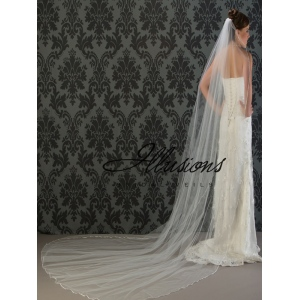 Illusions Bridal Ribbon Edge Wedding Veil C1-1201-1R: Pearl Accent, Cathedral Length
