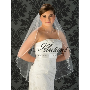 Illusions Bridal Ribbon Edge Wedding Veil 7-361-1R: Rhinestone Accent, White Fingertip Length