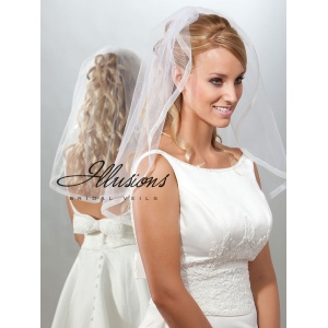 Illusions Bridal Ribbon Edge Veil 7-251-SR: Rhinestone Accent