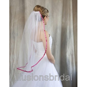 Illusions Bridal Colored Veils and Edges with Fuschia Ribbon Edge