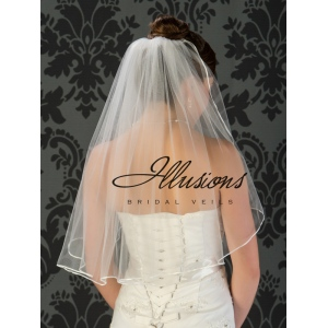 Illusions Bridal Ribbon Edge Veil 1-251-1R: Pearl Accent