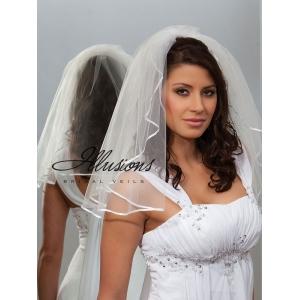 Illusions Bridal Ribbon Edge Veil 1-201-1R: Rhinestone Accent