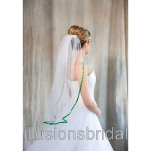 Illusions Bridal Colored Veils and Edges with Emerald Ribbon Edge