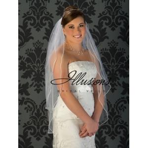 Illusions Bridal Soutache Edge Veil S5-362-ST: Fingertip Length