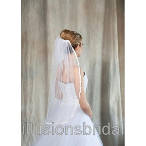 Illusions Bridal Colored Veils and Edges: Blush Pink Ribbon Edge