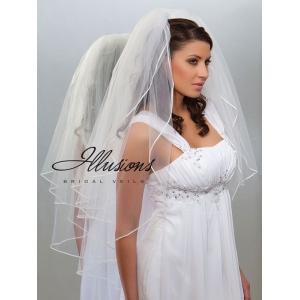 Illusions Bridal Soutache Edge Veil S1-362-ST: Pearl Accent