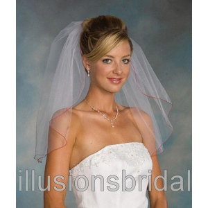 Illusions Bridal Colored Veils and Edges with Red Corded Edge 1-201-C-RD: Rhinestone Accent