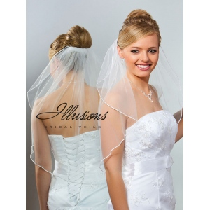 Illusions Bridal Soutache Edge Veil 7-251-ST: Rhinestone Accent