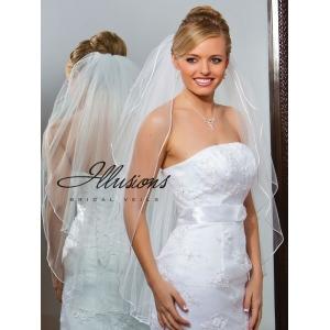 Illusions Bridal Rattail Edge Veil S1-362-RT: Pearl Accent