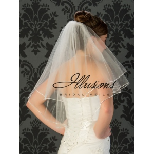 Illusions Bridal Rattail Edge Wedding Veil C7-252-RT: Pearl Accent, Elbow Length