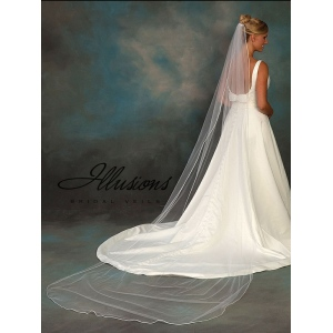 Illusions Bridal Rattail Edge Veil 5-1201-RT: Pearl Accent
