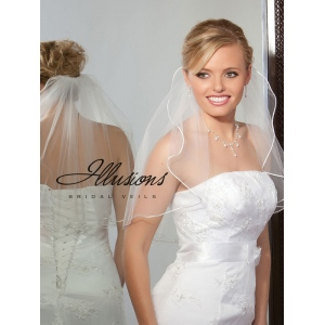 Illusions Bridal Rattail Edge Veil 1-201-RT: Pearl Accent