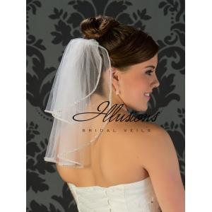 Illusions Bridal Rhinestone Edge Veil S5-152-RS