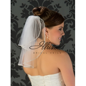Illusions Bridal Rhinestone Edge Veil S5-152-RS: Pearl Accent