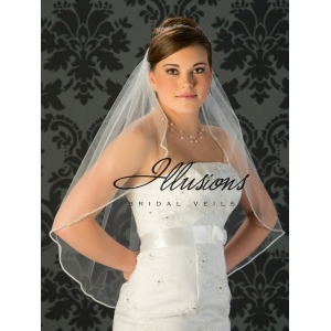 Illusions Bridal Rhinestone Edge Wedding Veil 7-301-RS: Pearl Accent, White Waist Length