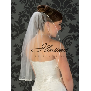 Illusions Bridal Soutache Edge Veil 5-251-ST: Pearl Accent