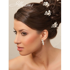 Illusions Bridal Hair Accessories 3289: White/Silver