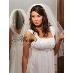 Illusions Bridal Corded Edge Veil 1-301-C: Rhinestone Accent